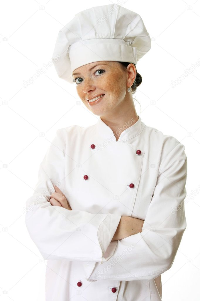 Attractive cook woman a over white background — Stock Photo #3012114
