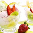 Ice cream with fruits — Stock Photo