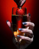 Champagne glass with strawberry — Stock Photo