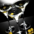 Stock Photo: Martini glass with olive inside
