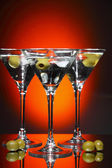 Martini glass with olive inside — Stock Photo