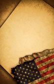 Usa vlag en oud papier — Stockfoto