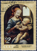 The Benois Madonna postage stamp — Stock Photo