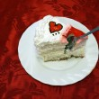Valentine Day Cake With Jelly Red Hearts cutted - Stock Photo