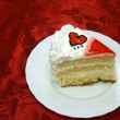 Valentine Day Cake With Jelly Red Hearts cutted — Stok fotoğraf #3518864