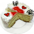 Valentine Day Cake With Jelly Red Hearts cutted — Stok fotoğraf #3518893