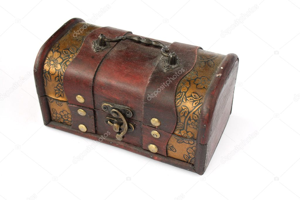 Single closed old wooden chest with ornament   Stock Photo #3518271