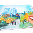 Stock Photo: Modern Ukraine city Dnipropetrovsk hand drawing with soft pastel