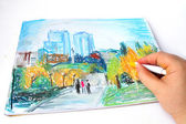 Modern Ukraine city Dnipropetrovsk hand drawing with soft pastel — Stock Photo