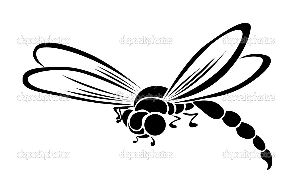 Stylized black dragonfly in vector style on a white background — Stock Vector #2990749