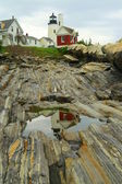 Reflection of Pemaquid Point Lighthouse — 图库照片