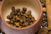 Coffee beans in cup close-up — Stock Photo