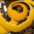 Royalty-Free Stock Photo: Yellow peel in coffee beans