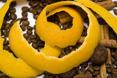 Yellow peel in coffee beans — Stock Photo