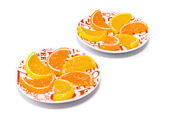 Jujube in the form of slices of orange and lemon, sprinkled with sugar, which lies on two white saucers with red pattern on white background — Stock Photo