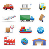 Industria & logistica Icon Set — Vettoriale Stock