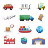 L'industrie et la logistique icône ensemble — Vecteur