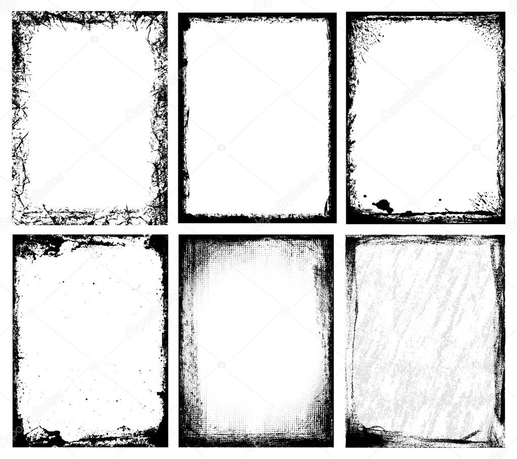 Set of grunge frames & textures. The textures are independent to framework. — Stock Vector #3025685
