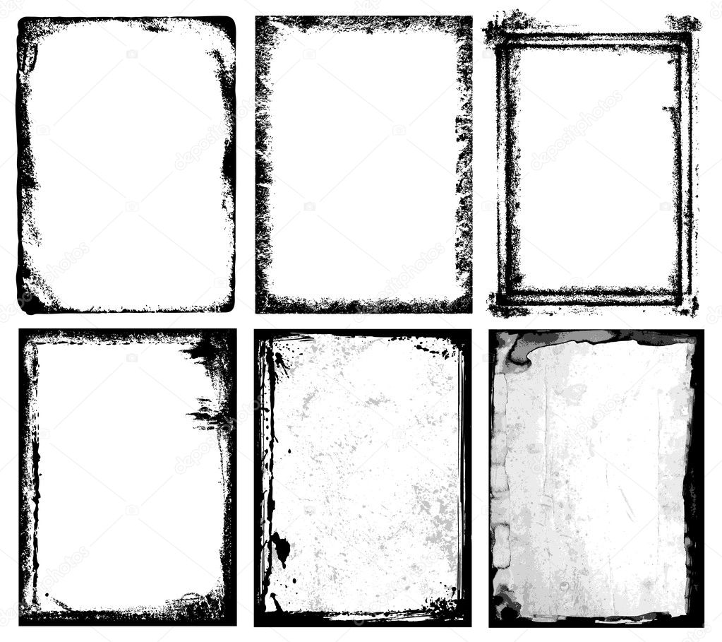 Set of grunge frames & textures. The textures are independent to framework. — Stock Vector #3025693
