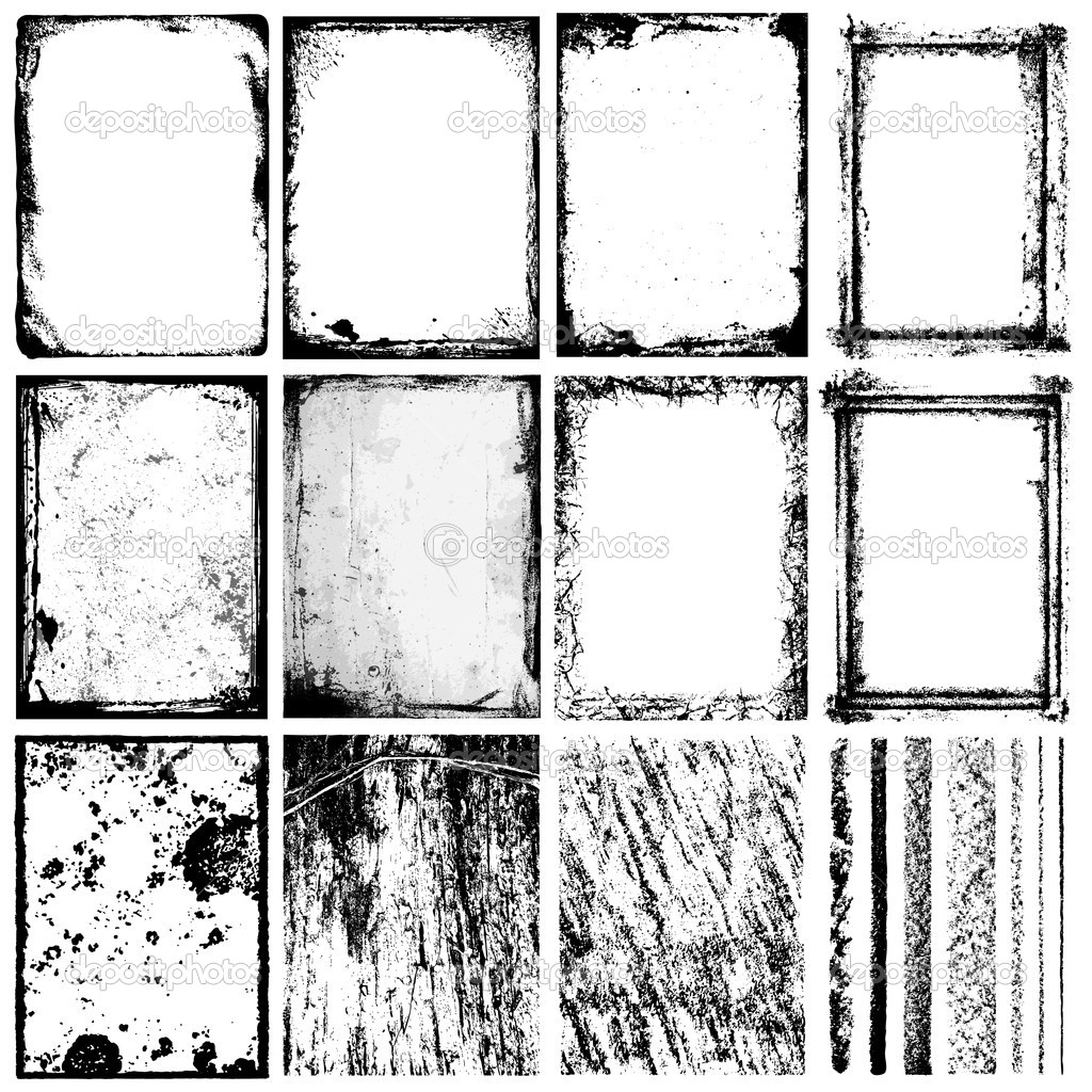 Set of grunge frames & textures. The textures are independent to framework.  Stock Vector #3031971