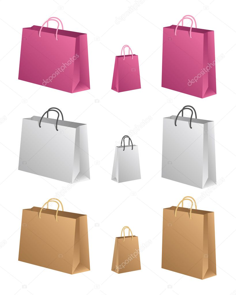 Shopping Bags, three shapes in three colors. Easy to change color, only modify the color values in the gradient and preserve the black values. — Stock Vector #3157998