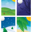 Four Seasonal Backgrounds — Stock Vector
