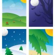 Four Seasonal Backgrounds — Stock vektor