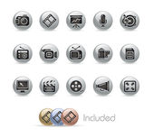 Multimedia // Metal Button Series — Vetor de Stock