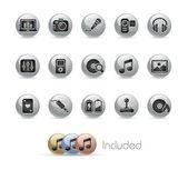 Entertainment // Metal Button Series — Stock Vector