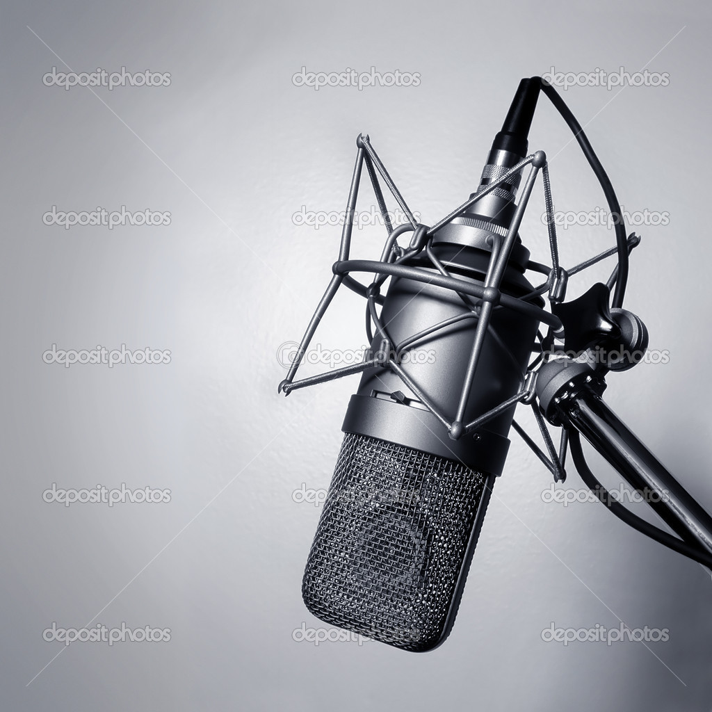 Black and white image of a studio microphone. — Foto de Stock   #3044086