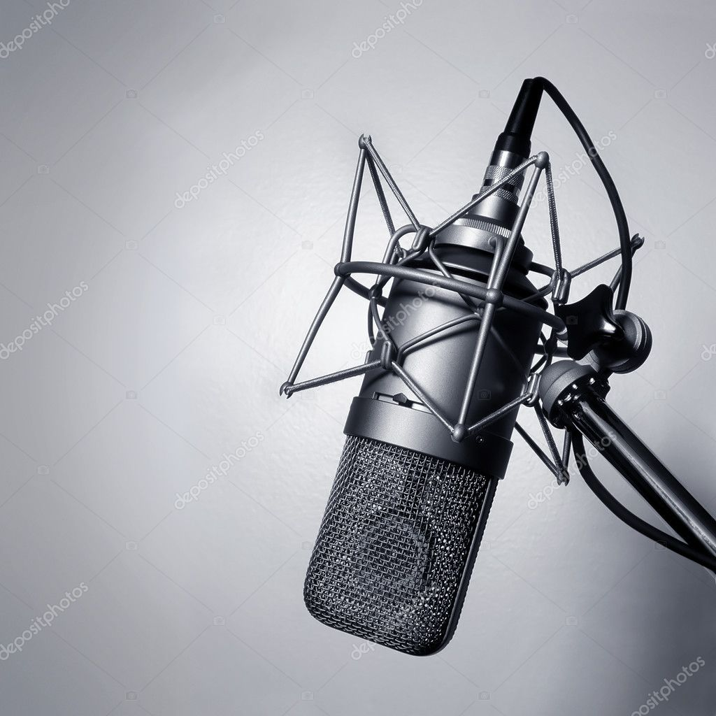 Black and white image of a studio microphone.  Stock Photo #3044086