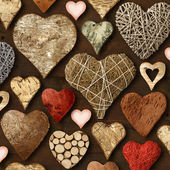 Heart shaped wooden things — Stock Photo