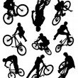 Bike stunt silhouettes — Stock Photo