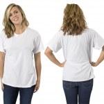 Female with blank white shirt — Stock Photo