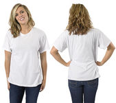 Female with blank white shirt — Stock Photo