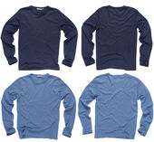 Blank blue long sleeve shirts — Stock Photo