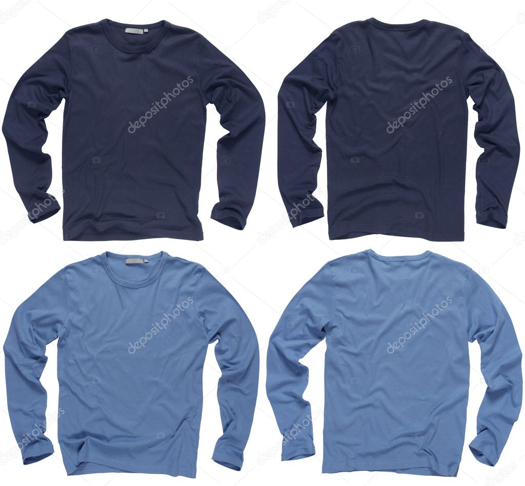 Photograph of two wrinkled blank navy and light blue long sleeve shirts, fronts and backs.  Clipping path included. — Stock Photo #3113466