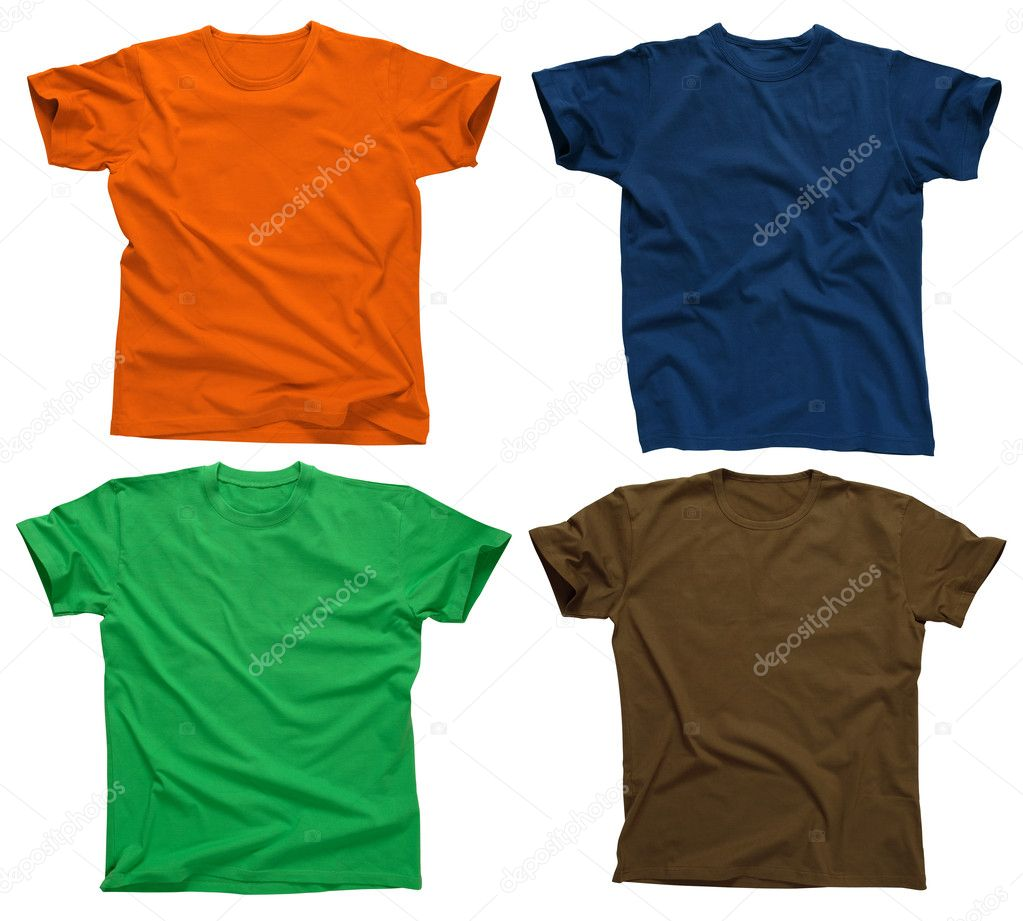 Photograph of four blank t-shirts, green, dark blue, brown, and orange.  Clipping path included.  Ready for your design. — Stock Photo #3113510
