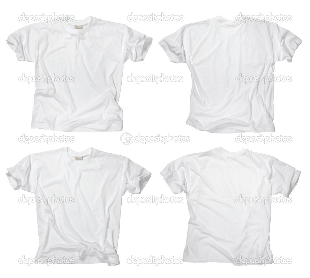 Blank white t-shirts front and back - Stock Image