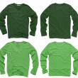 Blank green long sleeve shirts - Stock Photo