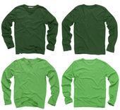 Blank green long sleeve shirts — Stock Photo
