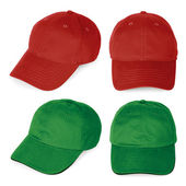 Blank red and green baseball caps — Stock Photo