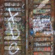 Graffiti wooden door - Stock Photo