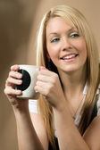Happy coffee drinker — Stock Photo