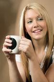 Happy coffee drinker — Stock Photo