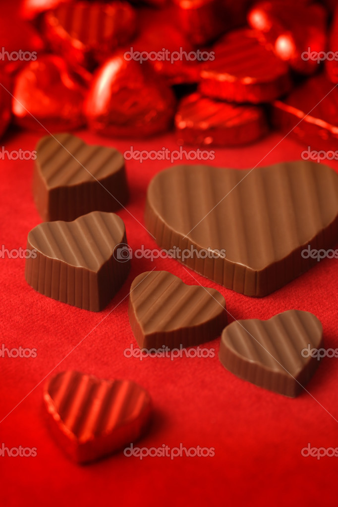Delicious chocolates for Valentines day.  Shallow depth of field - focus through the middle of image.  Stock Photo #3219411
