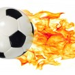 Stock Photo: Soccer ball in flames