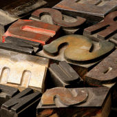 Old wooden type letters — Stock Photo