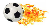 Soccer ball in flames — Stock Photo