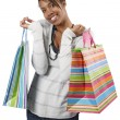 Постер, плакат: Happy shopper with colorful bags